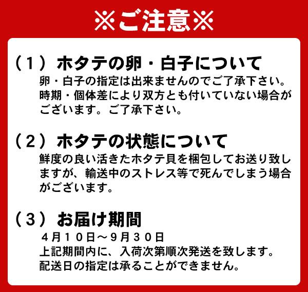 (1)ホタテの卵・白子について 卵・白子の指定は出来ませんのでご了承下さい。時期・個体差により双方とも付いていない場合がございます。ご了承下さい。(2)ホタテの状態について 鮮度の良い活きたホタテ貝を梱包してお送り致しますが、輸送中のストレス等で死んでしまう場合がございます。(3)お届け期間 4月10日〜9月30日 上記期間内に、入荷次第順次発送を致します。配送日の指定は承ることができません。